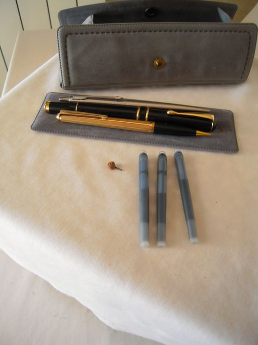 Lot of 3 pens: Parker ballpoint pen, Iridium Point fountain pen, Bellograf pencil, USA, Germany, Sweden, second half od the 20th century