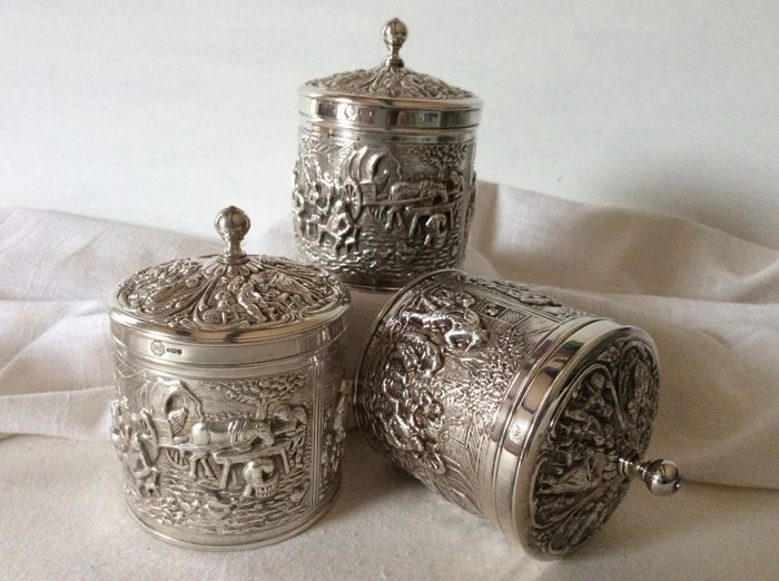 Three silver-plated tea caddies designed by Hooijkaas for D.E. The Netherlands, 1960
