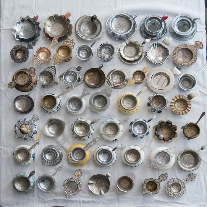 Collection of 50 old tea strainers