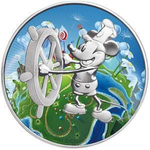 Niue 2 Dollars 2017 Steamboat Willie Mickey Mouse Green Planet 1