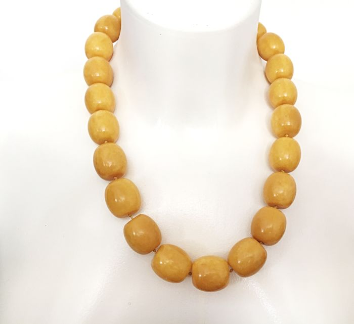 Old vintage Art Deco period Modified Amber  butterscotch colour, very big olive beads,   Massive necklace 104g
