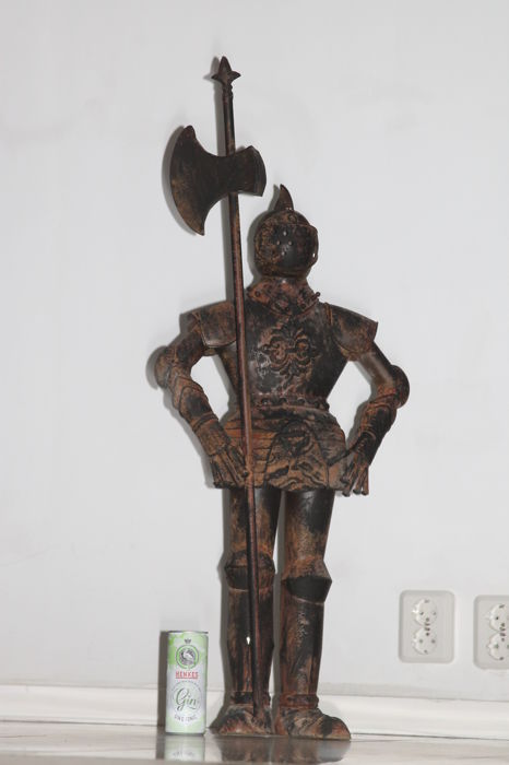 Large detailed handmade metal harness with an axe - 90 cm - 2nd half of the 20th century
