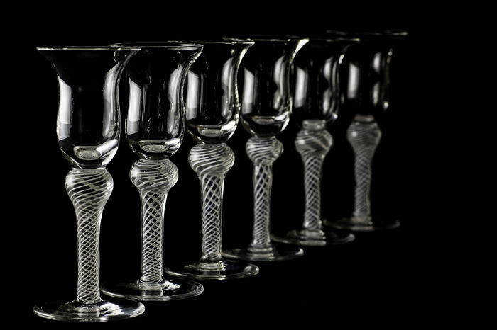 Set of six twisted stem wine glasses, the Netherlands or England, 18th/19th century