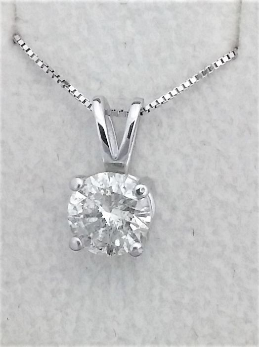 1 11 ct Round Diamond Pendant - E / SI2 - in 14 kt white gold + 14 K White  Gold Chain + AIG Certified + Laser Engraved   - Catawiki