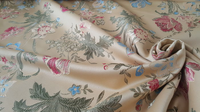 5.50 meters !!! beige base lampas fabric with flowers design of various colors - cotton blend - mid 20th century