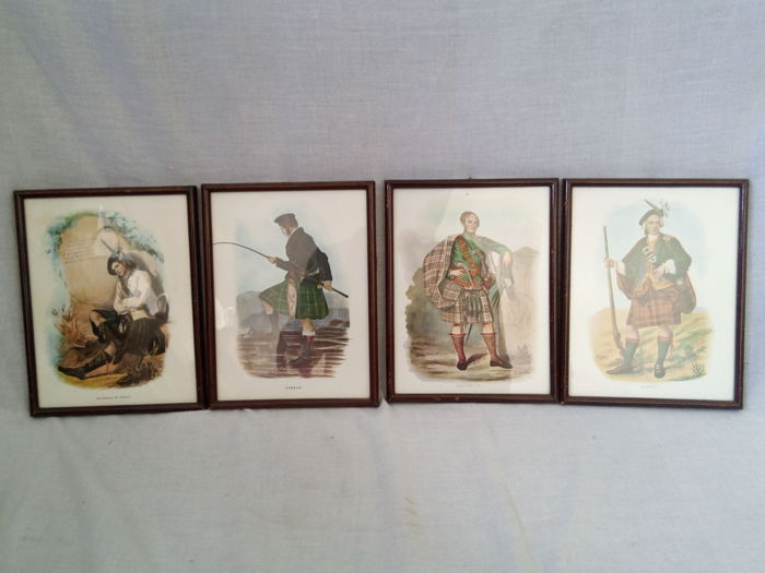 Set of 4 Paintings with 4 different Scotish Fabrics for Kilts