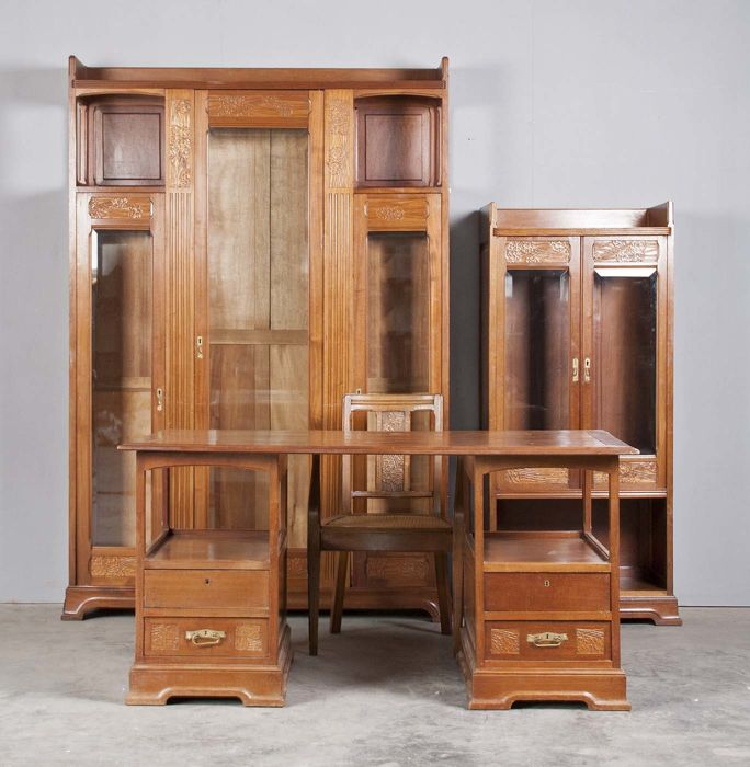 art nouveau exclusieve bureau set catawiki. Black Bedroom Furniture Sets. Home Design Ideas