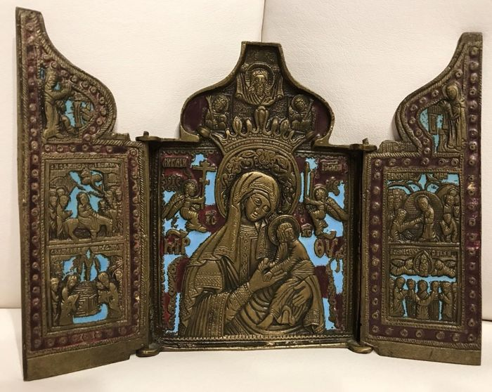 Old russian travel icon / metal icon