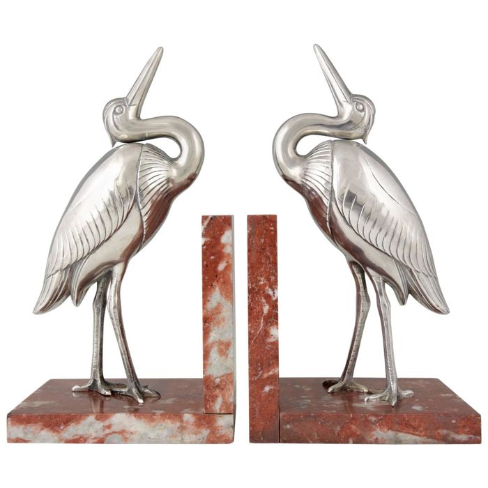 Irénée Rochard (1906-1984) - Art Deco bookends - Herons on a marble base