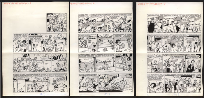 Lacroix, Pierre - 3 Planches originales - Nelly artiste - (1966/1966)