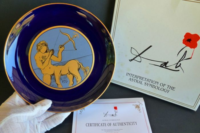 Salvador Dali - Collection plate  'Polaris' - Sagitarius - Signed - Numbered - Certificate - Original box