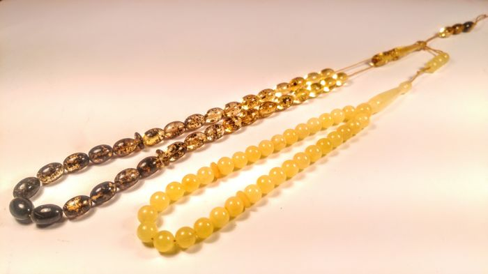 100% Genuine 33 Beads Muslim Tasbih Misbaha Baltic Amber 2 prayers