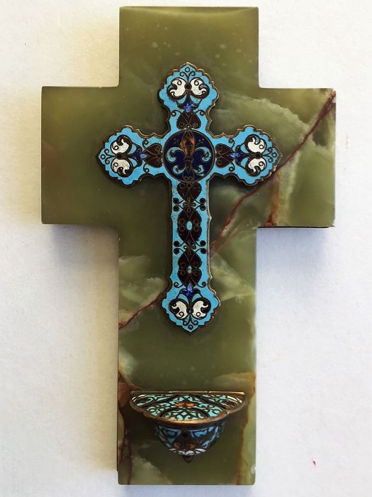 Cloisonné enamel cross Bénitier, antique French, lobed and glazed holy water font, on an onyx base, 19th century