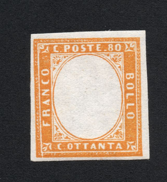 Sardinia 1855/1863 -  80 cent without embossed head - Bolaffi N. 14B