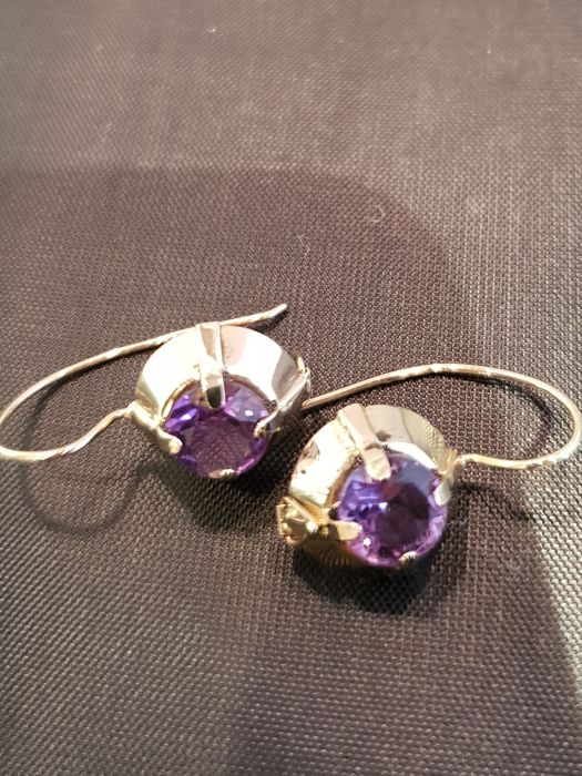 14K earrings set whit 0,70ct amethyst **** no reserve price ****