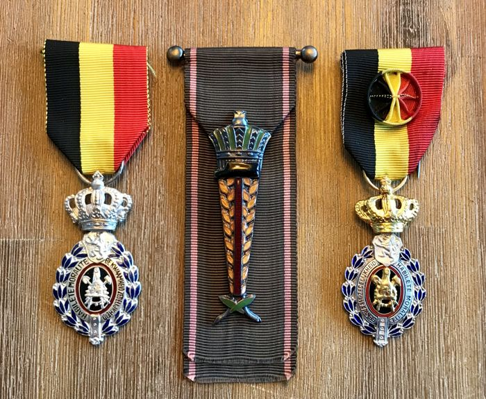 België - 1sr & 2nd LABOUR medals + the Honorary Insignia - Medaille - 1950