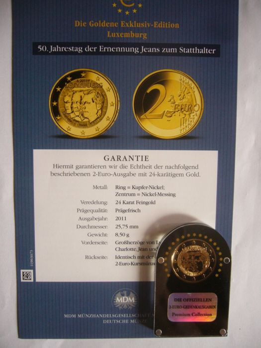 Luxemburg 2 Euro 20042014 Plaqué Or 24 Carats 9 Pieces Catawiki