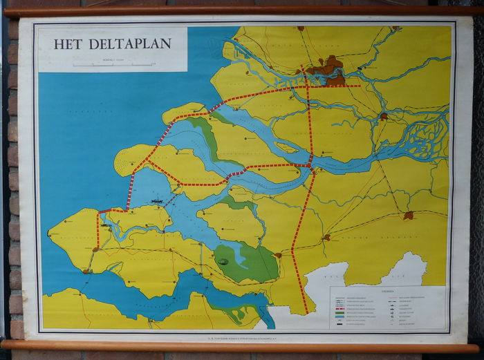 Old school map of Zeeland with the Delta plan - Catawiki