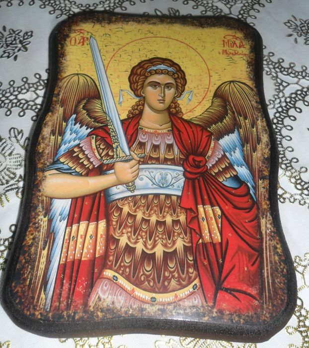 Beautiful,old Oak wood, handmade Icon,Archangel Michael ...