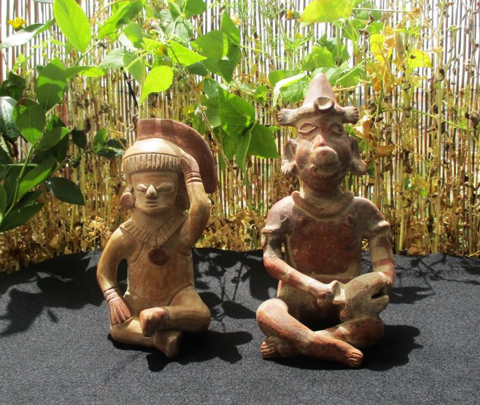 Lot of two hand made clay/terracota statues of Mayan/Aztec gods