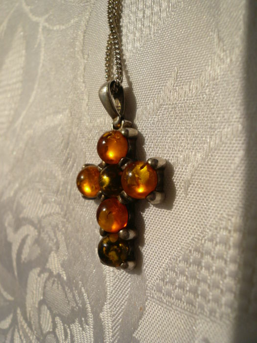Long vintage necklace with amber cross pendant, handmade, solid real silver