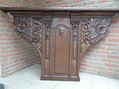 Oak coat rack from Mechelen with exuberant carving - late 19th century