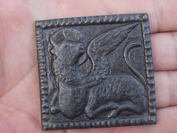 Religious iron church ornament of the evangelist Luke as a winged ox - the Netherlands - 19th century
