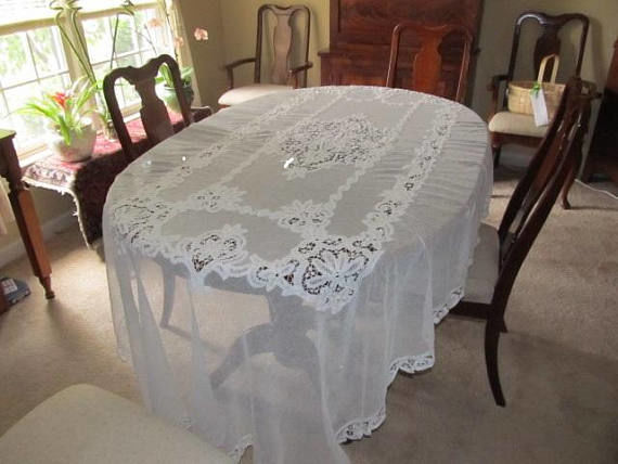 Antique  Brussels and Battenburg Tablecloth - Tablecloth - one - Brussels Battenburg lace