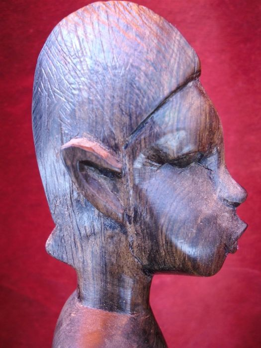 Mysterious African Wood Carved Figurine Of A Warrior Witch Doctor