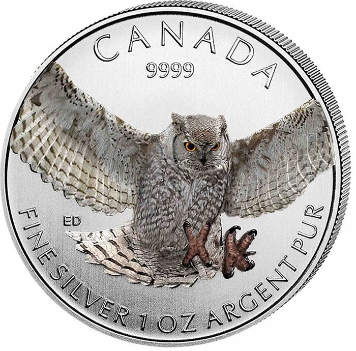 Canada - 5 CAD - birds of prey 2015 - great horned owl - 999 silver coin - colour edition - edition of 5000 PCs