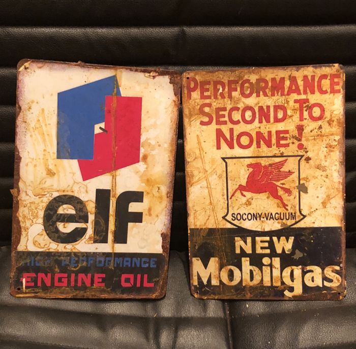 Very curious pair of advertisings MOBILGAS and ELF  Performance second to none and Engine Oil - 21th century