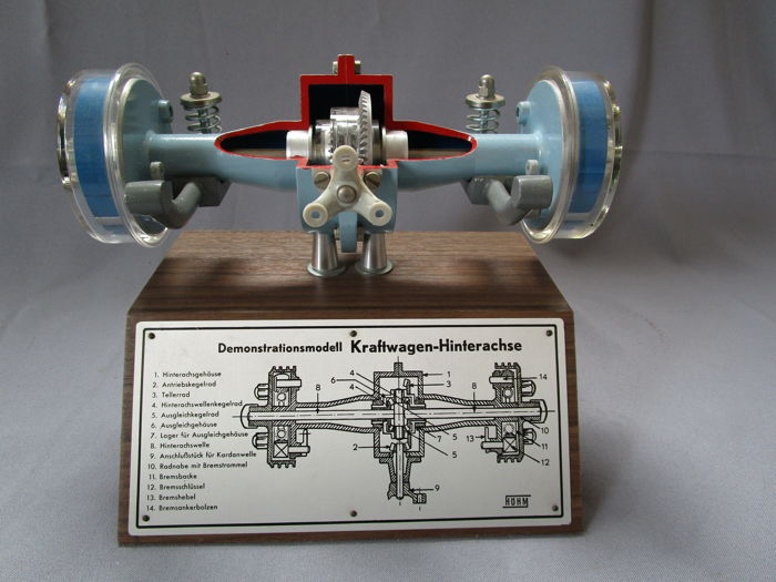 Model of a rear axle with differential - Höhm / Werner Degener - perfekter Zustand - mint - 1960-1970