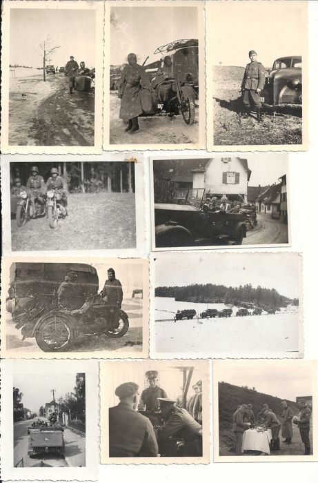 Third Reich; Lot with 35 original photos of the German Wehrmacht, special motorcycle riflemen, motorcycles, cars, etc. World War II