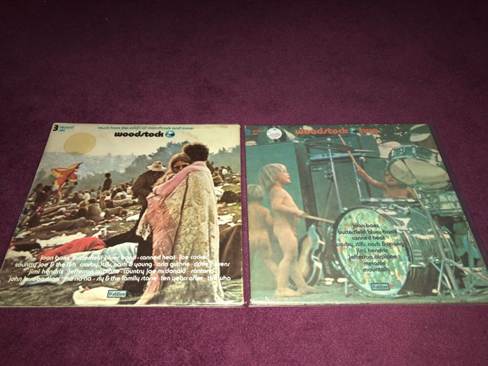 "Lot of 2 LP Albums  - ""Woodstock One"" and ""Woodstock Two"",  ""Three Days of Peace and Music"" on 5 records (Both On Cotillion!)"