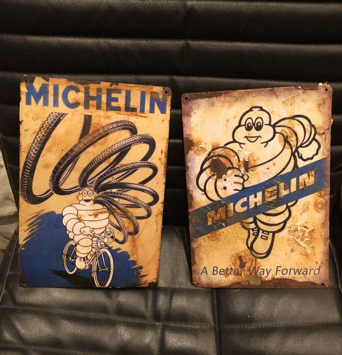 A very Curious MICHELIN lot tin plaque advertisings - 21th century