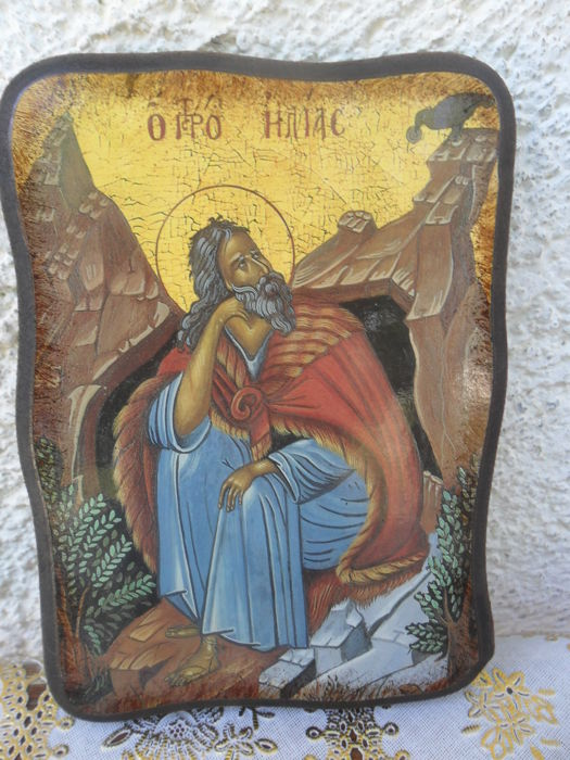 Beautiful,old Oak wood, handmade Icon,Prophet Elijah
