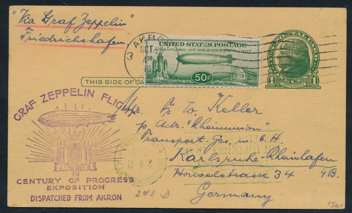 United States of America 1933 - Zeppelin card with LZ 127 from Akron to Karlsruhe, 50 cent grün, Michel 358, Sieger 243D