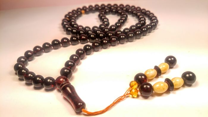 Cherry colour 99 Beads Muslim Tasbih Misbaha Baltic Amber prayer, 64 grams