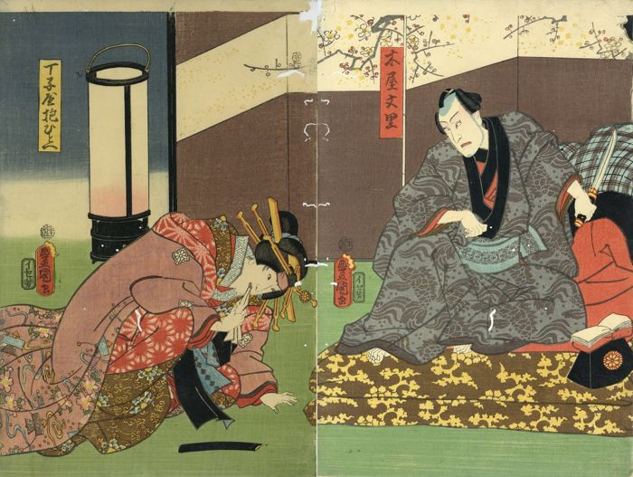Origineel houtblok print, Tweeluik - Utagawa Kunisada (1786-1865) - Kabuki actors as Kiya Bunri and Teikoya Hitoe  - 1860