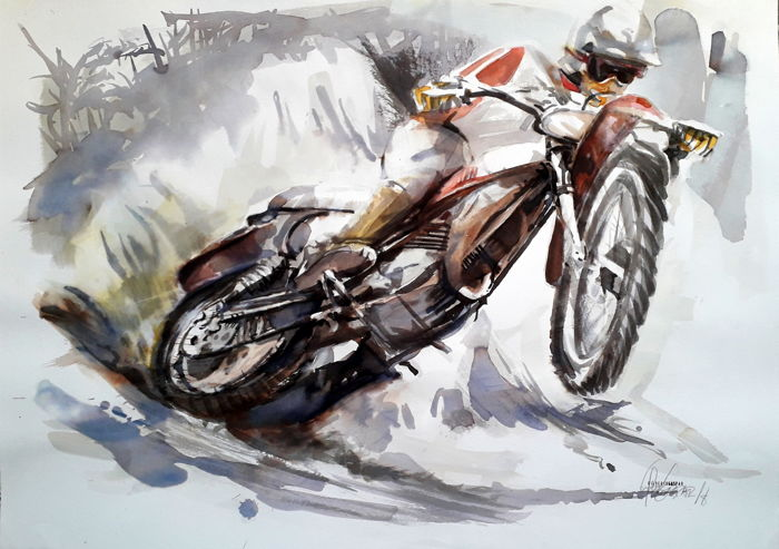 Original watercolor by Gilberto Gaspar  - Motocross Jump - 2017-2018 (1 items)