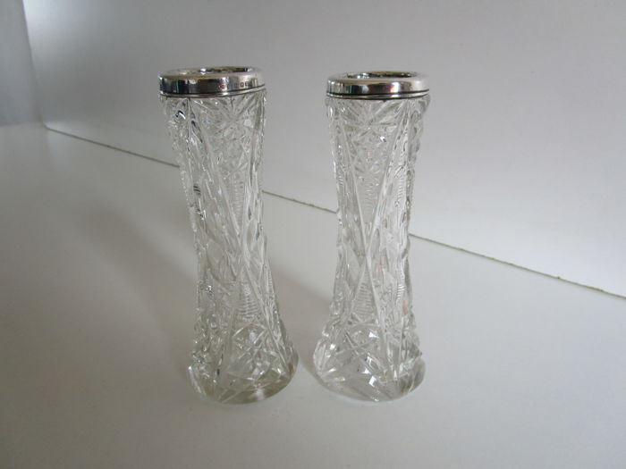 Two Cut Glass Sterling Silver Flower Vases London 1921 England