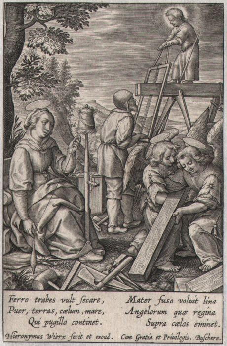 Hieronymus Wierix (1553 - 1619) - The infant assisting St Joseph sawing