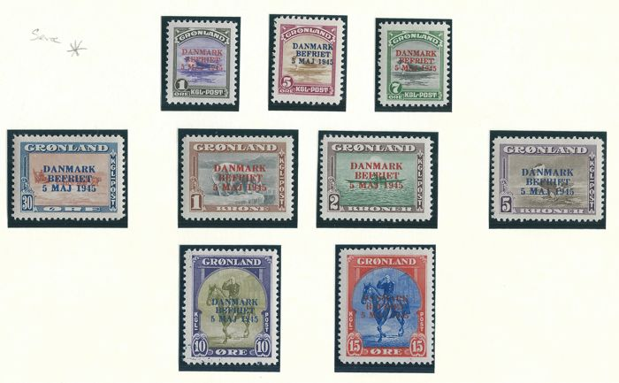Greenland 1945 - Complete series with print: DANMARK BEFRIET - Michel 17/25