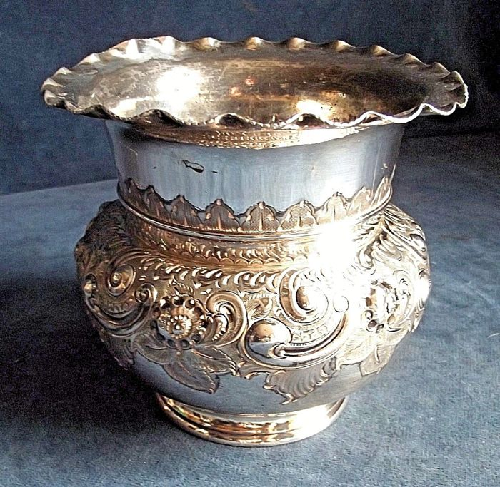 Antique Victorian Silver Plated Flower Vase Richly Decorated Ca