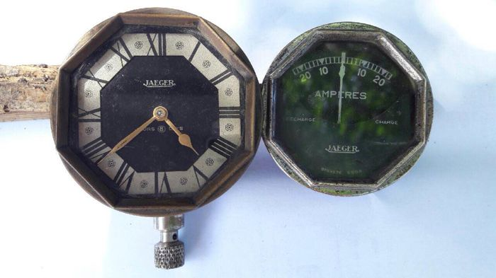 Jaeger 1925 clock and ammeter set