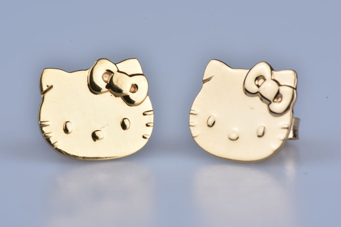 18 Kt 750 1 000 Yellow Gold Earrings Hello Kitty Catawiki
