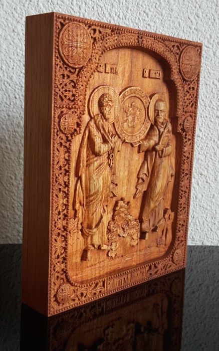 A wooden carved on oak Russian icon - Saints Peter and Paul - Ortodox - 20th century