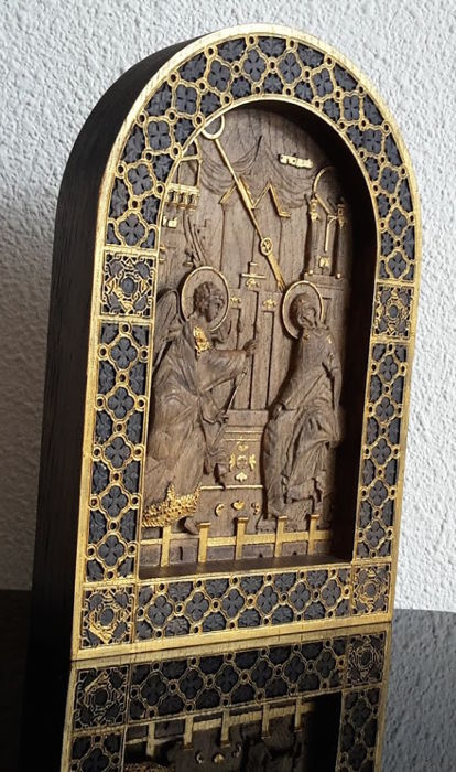 A wooden carved on oak Russian icon - Annunciation - 20th century