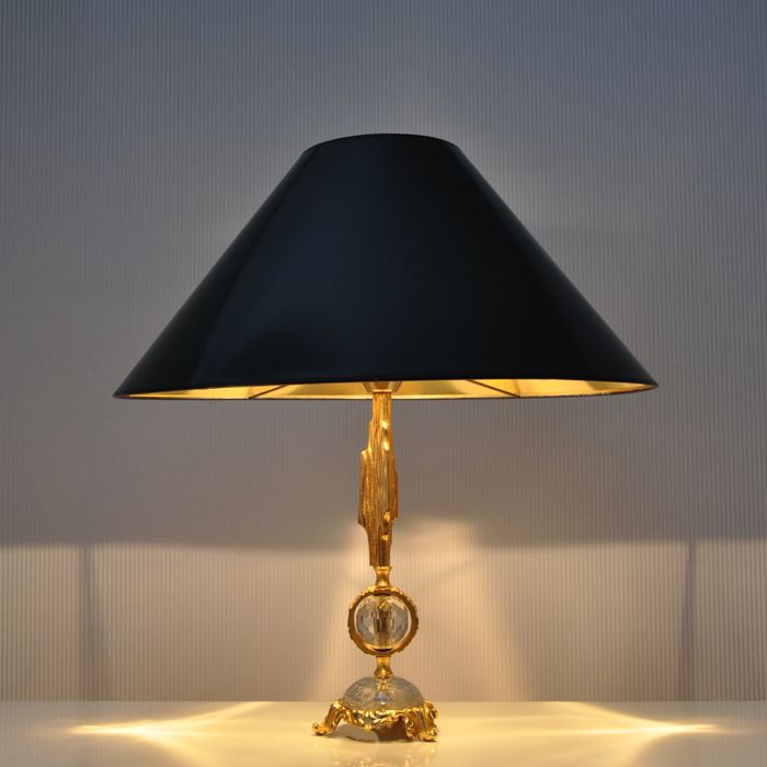 Manufacturer Unknown Brass Plated Crystal Table Lamp With Lacquer