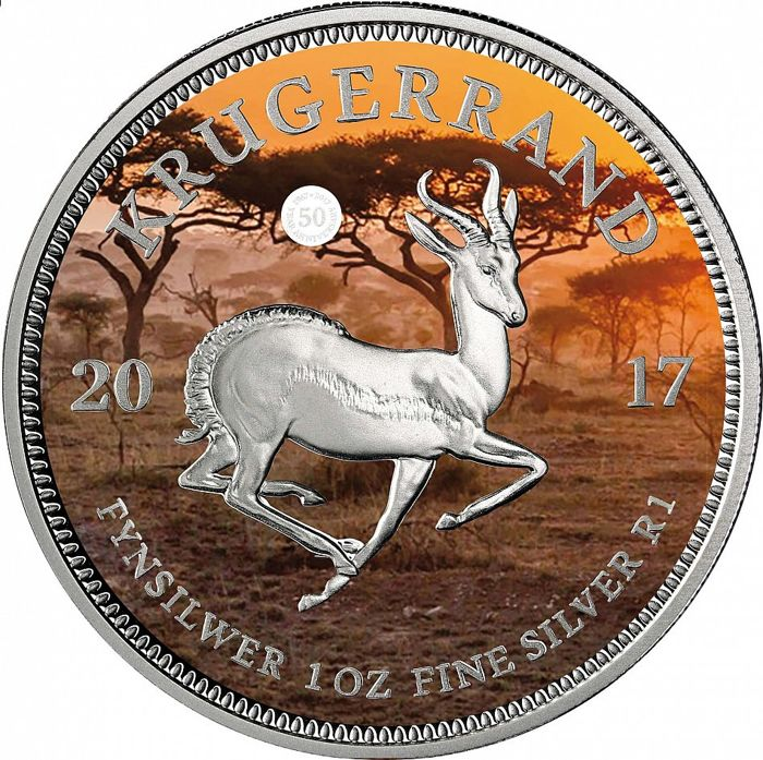 South Africa - Krugerrand 2017 ' 50 years Krügerrand' - PANGÄA - colour - edition of 10000 piece - 1 oz 999 silver